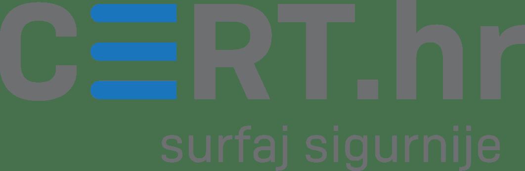 """CERT.hr logotip sa sloganom """"Surfaj sigurnije"""""""